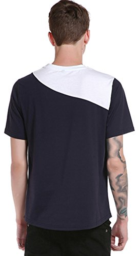 Whatlees Herren Urban Kontrast Design Langes T-shirt mit abgenähtem Design B572-Navy