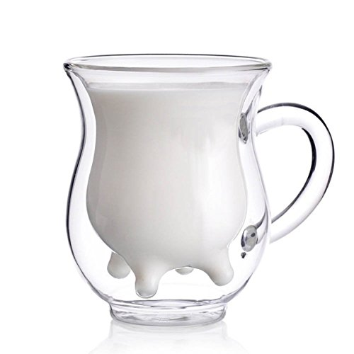 Doppelwandige Tassen Latte/Cappuccino/Milch/Juice Glass PLUIESOLEIL 250ml Glas Kaffee Tassen Teetasse Thermotasse Kaffeetasse - Mikrowelle Milch Tasse