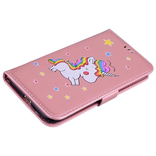 Coque iPhone 5/5s/5se Coquille de Licorne en cuir avec la fonction slot slot carte et Sparkling Glitter Star pattern Housse(Brun-01) Rose golden-01