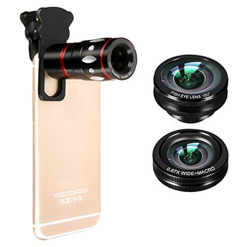 Handy Objektiv - M.Way Foto-Kamera-Objektiv 4 in 1 180-Grad-Objektiv & 0.67X Weitwinkel-Objektiv & 10X MakroobjektivFischauge Lupe Zoom Linse mobil Vergrößerung Video Zubehör für Samsung Galaxy S6 & S5 und Apple iPhone 6 & 6 Plus