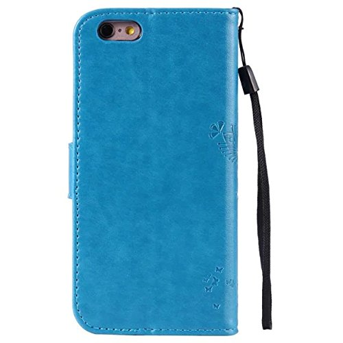 Solid Color Premium PU Leather Case Embossing Pattern Flip Stand Case couverture avec carte et Cash Slots pour iPhone 6 6s 4,7 pouces ( Color : Lavender ) Blue