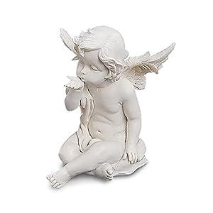 TEMPELWELT Deko Engel Figur Schutzengel Sitzend 13 cm Groß, Polystein Weiß, Engelkind Handkuss Geste Dekofigur Statue Dekoengel Engelchen Engelfigur