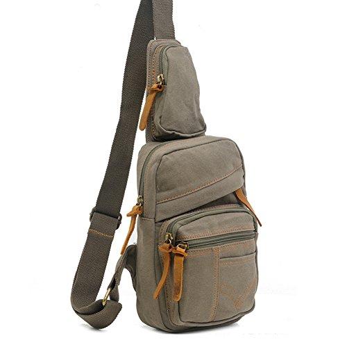 Yimidear zaino borsa in tela unisex a spalla petto a cacaul borsello pacchetto sbilanciato Beige