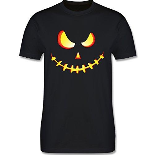 Halloween - Gruseliges Kürbis-Gesicht - M - Schwarz - L190 - Herren T-Shirt Rundhals