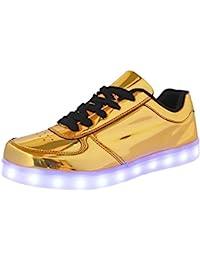 (Present:kleines Handtuch)Gold EU 42, Glow (Größe Schuhe USB-Lade Lovers mode Damen LED 43, JUNGLEST® Silber) leuchten Herren Sportschuhe Turn