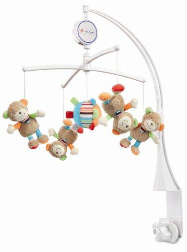 Fehn 091250 Musik Mobile Oskar - Spieluhr-Mobile mit niedlichen Teddies zum Lauschen & Staunen / Zum Befestigen am Bett für Babys von 0-5 Monaten / Höhe: 65 cm, ø 40 cm