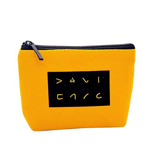 wonCacrostrans Frauen Geldbörse, lustige japanische Zeichen gedruckt Leinwand Geldbörse Reißverschluss Geldbörse Kartenhalter Kupplung Yellow (Billig Kupplung Brieftasche)
