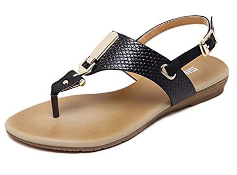 Minetom Femmes Filles Casual Peep-toe Buckle Flat Chaussures Sandales Été Tongs Flip Flops Plage Voyage Vacances Noir EU 39
