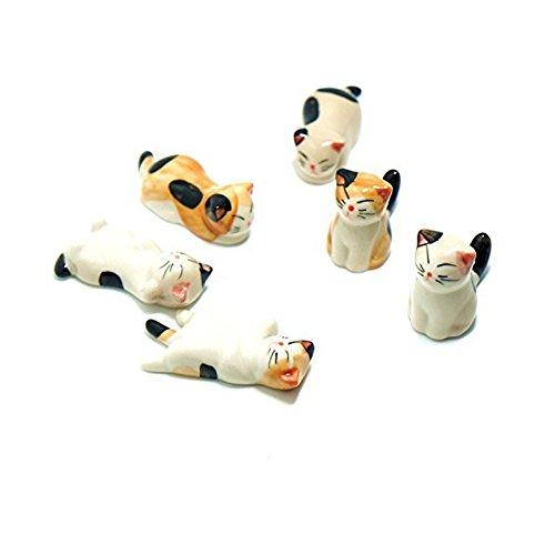 NNNKO 6pcs gatto modello bacchette resto cucchiaio forchetta portacoltelli in ceramica cinese animali bacchette titolare
