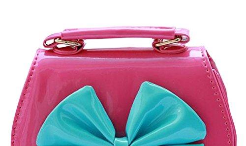 Happy Cherry Kleines Mädchen Tasche Kinder Umhängetasche Mode Frauen Schultertasche PU Leder Handtasche Mit Schleife Verstellbarer Schultergurt Taschen Henkeltasche Girls Bag 16 * 8 * 12,5cm - Gold Rosarot 2