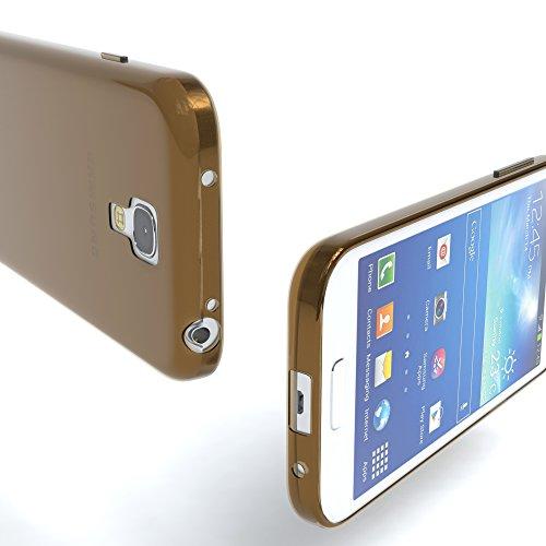 Samsung Galaxy S4 Mini Hülle - EAZY CASE Ultra Slim Cover TPU Handyhülle Matt - dünne Schutzhülle aus Silikon in Grün Clear Braun