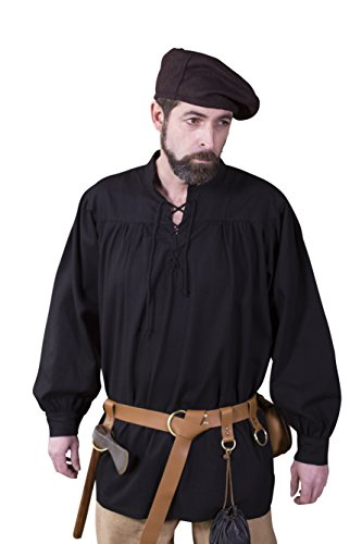 Schnürhemd Störtebecker - Schwarz (XL) (Reenactment Kostüm Pirat)