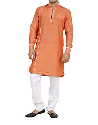 Art Designer Wear Orange Linen Pathani Suit For Men-XX-Large