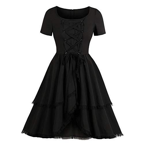 Steampunk Korsett Kleid Kostüm Vintage Punk Kleid 50er Jahre Abend Cocktailkleid Lolita Kleid Kurzarm Quadratischen Gekräuselten Schichten Gothic Kleid Swing Dress (S, Schwarz) ()