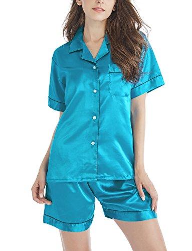 Damen Schlafanzüge Kurzarm Satin Pyjama Set Nachtwäsche mit Kurze Hose Kurz Ärmel Sommer (Türkis mit Schwarzem Keder, M=EU (40-42))