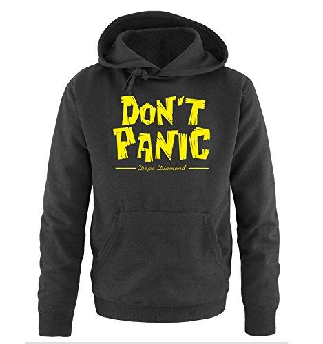 Comedy Shirts - DON'T PANIC - Dope Diamond - Uomo Hoodie cappuccio sweater - taglia S-XXL different colors nero / neon giallo