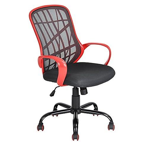 Chaise de bureau Aingoo Chaise de bureau pivotante pour ordinateur Chaise de bureau Lumbar Support avec bras, rouge et noir
