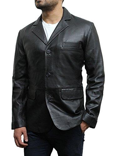 Brandslock homme blouson veste en cuir d'origine de blazer Noir