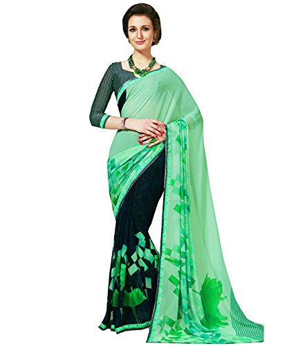 Subhash Sarees Turquoise Color Georgette Printed (Checkered) Saree  available at amazon for Rs.1016