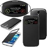 Membrane Dunkelgrau Tasche Hülle kompatibel für Samsung Galaxy S4 (GT-i9500 / i9505 LTE / i9502 Duos/Google Edition/Value Edition GT-i9515 / SCH-I959) - Flip Case Cover + 2 Displayschutzfolie