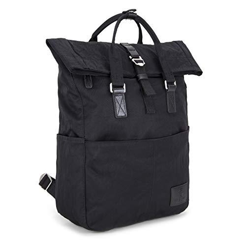 SEVENTEEN LONDON - Moderner und stilvoller 'Soho' Rucksack in schwarz mit einem klassischen gefalteten Roll Top Design - perfekt für 13-Zoll-Laptops