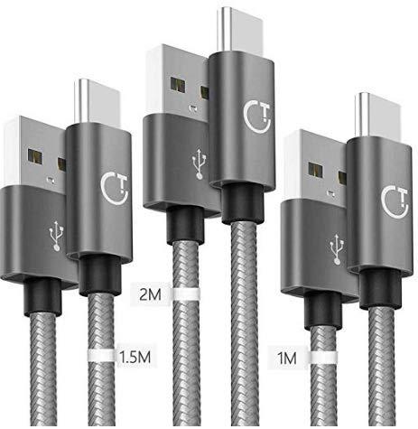 Gritin Câble USB Type C [1m+1.5m+2m/Lot de 3], Nylon Tressé, Cordon Type C 2018, Connecteur Ultra Résistant, Charge Rapide pour Samsung /Huawei,Nexus,Sony,etc-Gris Sidéral