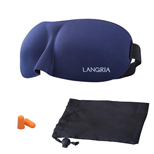 LANGRIA Mascherina per Dormire con Fodera Eye Mask in 3d Durante Il Viaggio Design Sagomato con Due Set di Tappi per Le Orecchie