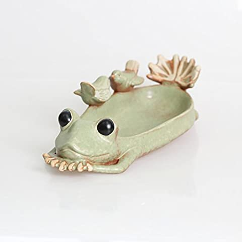 Creative Pottery Variable Glazed Porcelain Ceramic Flower Pot Frog and Birds Shape Planter for Succulents ferns Moss Plants 26cm Long Feeder Ornament