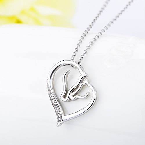 """YFN JEWELRY""""Pure Love""""925 Sterling Silver Horse Head Heart Pendant Necklace for Women Girls kids, 18″ Rolo Chain"""