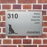 Namenundmehr Türschild Selbst Gestalten 20x15 - Hausnummer Edelstahl-Optik - Personalisierte Schilder – Individuelle Geschenke – Türschild Willkommen – Wandschild Hier wohnt Familie