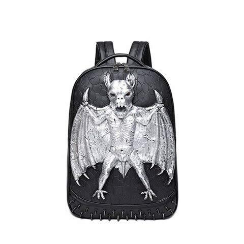 OOGUOSHENG 3D Leder Rucksack Mode Männer Fledermaus Rucksack Computer Laptop Taschen Coole Reisetaschen Mädchen Schule Punk Nieten Halloween Tasche -3