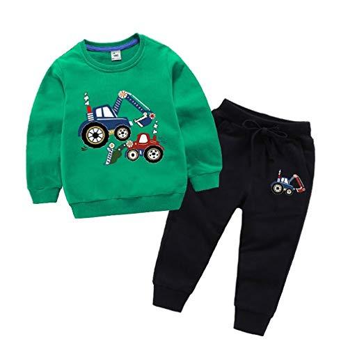 SPFAZJ Completo da Bambina (Top + Pantaloni) Costumi Fall Hooded (A:Verde,80CM