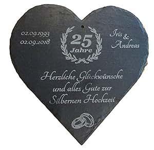Raru Großes Schiefer Herz Mit Individueller Lasergravur Zur Silbernen Hochzeit Mit Datum Und Namen Graviert