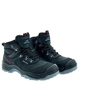 Aboutblu 2014927LA S3 SRC, New Safhir, Water Repellent Safety Shoe, Men, Black, Leather, Size 38