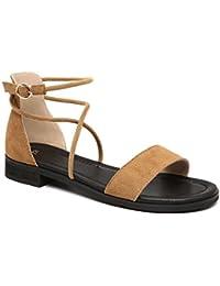 2017 Las nuevas sandalias de tacón bajo de cuero del verano de las mujeres cruzan las yardas grandes de la correa 40-43 yardas sandalias planas , 3 , 42
