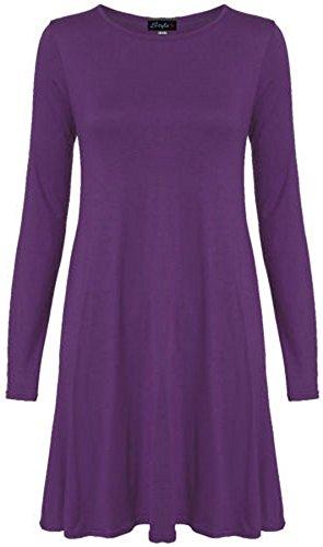 Neue Frauen Plus Size Flare Swing-Kleid Langarmshirt Hanky Hem Jersey-Kleid 36-54, Lila, 40-42 (Lila Plus Size Kleid)