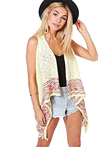 Womens Yellow Gemma Aztec Trim Sleeveless Cardigan - ONE SIZE