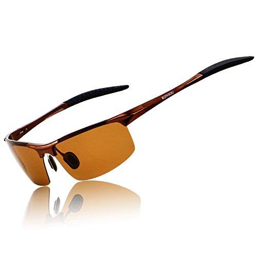 RONSOU Herren Sport Al-Mg Polarisiert Sonnenbrille Unzerbrechlich zum Fahren Radfahren Angeln Golf braun rahmen/braun linse