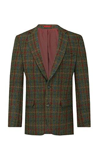 Harris Tweed Homme Veste Tweed Verte à Larges Carreaux-48 Long