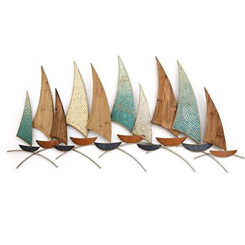 JSBVM Metall Wand Art Decor Mittelmeer Schiff Eisenholz kombiniert Wandbild modern,B