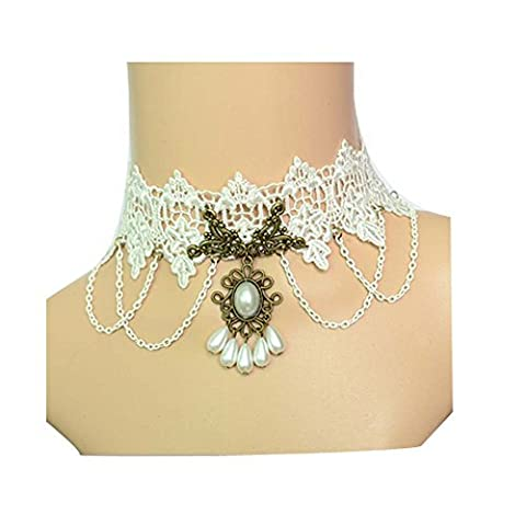 Darkey Wang Woman's Fashion Noble White Lace Necklace by Darkey Wang