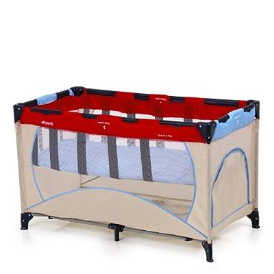 Hauck 601204 Dream'n Play Plus - Cuna de viaje con colchón para colgar, bolsa de transporte (60 x 120 cm), color beige rojo y azul