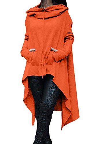 Le Donne Si Pullover Alto Basso Asimmetrici Felpe Maglione Felpe. Orange
