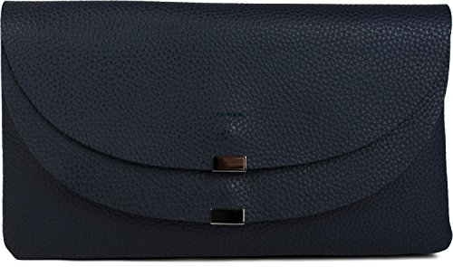 styleBREAKER Envelope Clutch, Abendtasche mit doppeltem Umschlag, Metallelement am Verschluss, Schulterriemen und Trageschlaufe, Tasche, Damen 02012159, Farbe:Midnight-Blue (Leder Fold Messenger Bag)