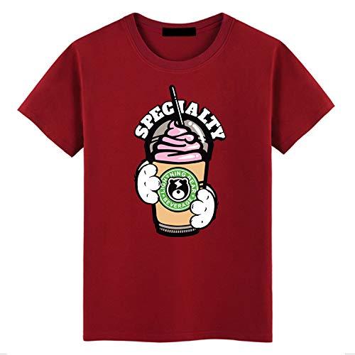 Loses kurzärmeliges Herren-T-Shirt in Übergröße mit Rundhalsausschnitt, weinrot L -