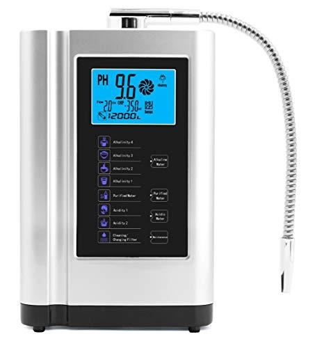 Wasser-Ionisator, Wasserreiniger, PH 3,5-10,5 basische Säurewassermaschine, bis zu -500 mV ORP, 6000 Liter pro Filter, 7 Wassereinstellungen, automatische Reinigung, intelligente Stimme silber