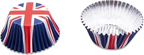 50 Party-Muffinförmchen * ENGLAND * für Länderparty oder Geburtstag von Städter // Muffin Muffins Party Kindergeburtstag Mottoparty Fussball Papier UK Grossbritannien Union Jack blau weiss rot Std Muffin