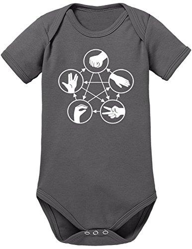 Touchlines Unisex Baby Body Stein Schere Papier Echse Spock, Grau (Darkgrey 17), 62