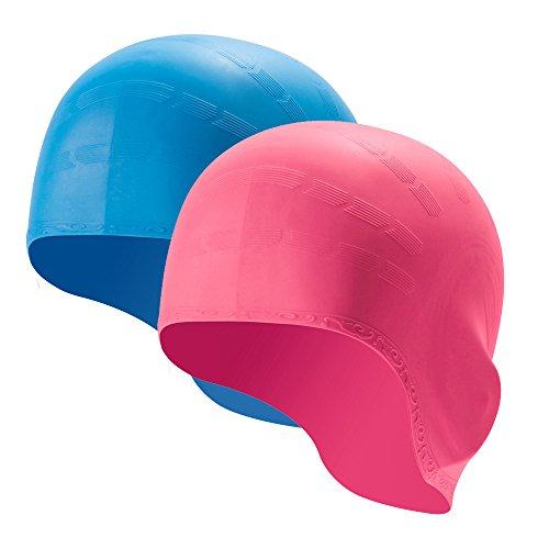 TRADERPLUS 2Pack Wasserdicht Silikon Badekappe Rutschhemmende Schwimmen Hat mit 3D Ergonomische Ear Pocket für Damen Herren-One Size, Unisex, Pink & SkyBlue, Einheitsgröße - Herren One Pocket