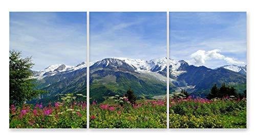 JH Lacrocon Leinwand Kunstdruck Bergpanorama Bild Deko 40X60cm 3 teilig Poster Blumen Rauchigen Bergen Foto 120X60 cm